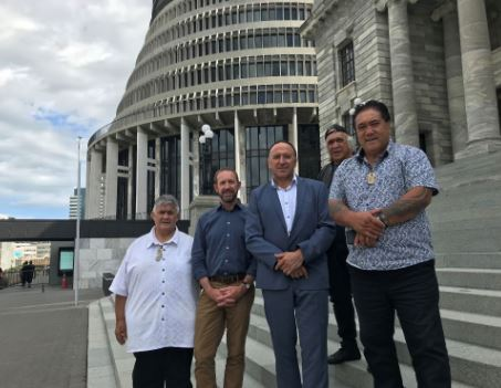 Left to Right: Rudy Taylor, Hon Andrew Little MP, Pita Tipene, Hone Sadler (behind) and Raniera (Sonny) Tau.