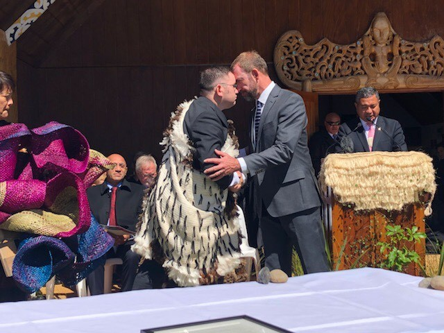 Ngāti Rangi gifting to the Crown a contemporary harakeke piece by Keita Tuhi and Kia Tomoana representing the vibrant colours of Ruapehu and the sky, Raketepauma Marae, 10 March 2018