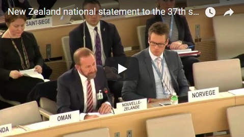 New Zealand national statement to the 37th session of the United Nations Human Rights Council, Geneva, March 2018
