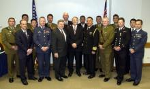 Defence Minister Phil Goff and US Ambassador William McCormick  with recipients of the US Bronze Star and US Army Commendation Medals at the US Embassy Wellington. 16 October 2006