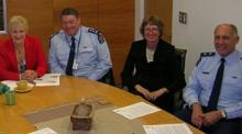 Police Minister Annette King with Commissioner Howard Broad, Deputy Commissioner Lyn Provost and Deputy Commissioner Rob Pope